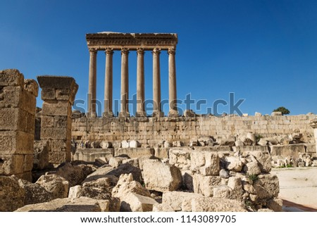 The high columns of the Jupiter Tempel of Baalbek on deep blue sky, Lebanon