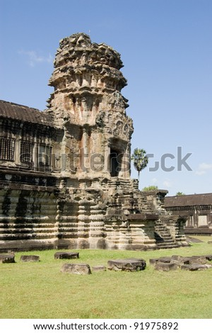 The high entrance designed to allow riders on elephants to enter the temple of Angkor Wat.  Eastern end near Siem Reap, Cambodia.