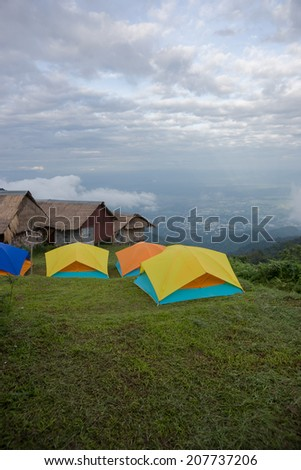 The high mountain camping vacation with a beautiful view.