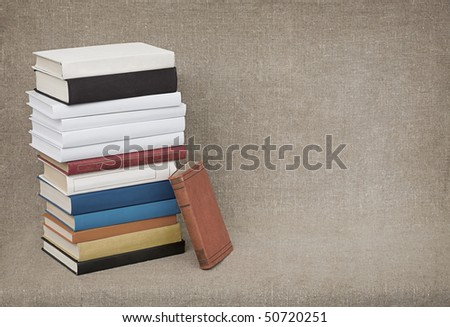 The high pile of old books and textbooks on the background of the canvas