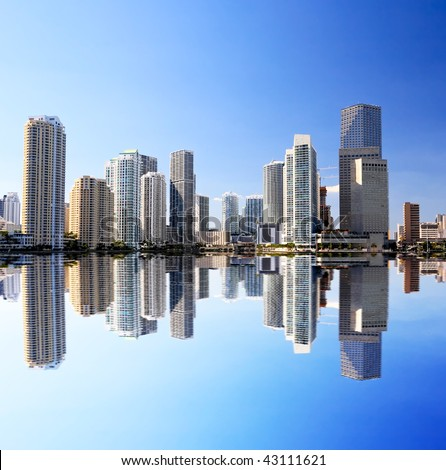 The high-rise buildings in downtown Miami Florida