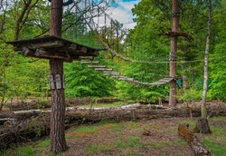 The high ropes course for climbing in the Jungfernheide park in Berlin Siemensstadt