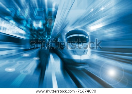 The high-speed train background with motion blur