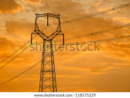 the high-voltage electric power tower - stock photo