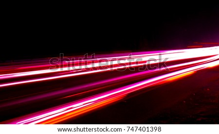 The high way high speed vehicle tail light trails  #747401398