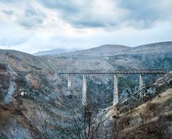 The highest railway bridge in Europe near Kolasin crossing the canyon of Tara river, Kanjon rijeke Tare, in Montenegro, the Balkans