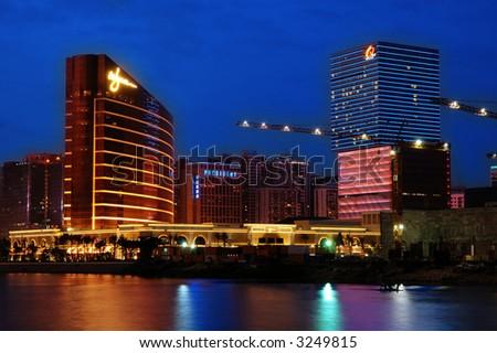 The highrise casinos, Wynn and Galaxy, in Macau