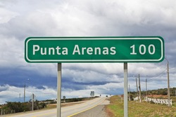 The highway to Punta Arenas in Patagonia, Chile