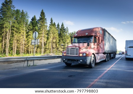 The highway transportation with cars and Truck. #797798803