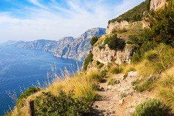 The hiking trail Sentiero degli Dei (  Path of the Gods) along the Amalfi Coast  from Agerola to Nocelle, Province of Salerno,  Campania, Italy.