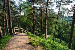 The Hill Fort of Naujoji Reva in Silenai cognitive park near Vilnius, Lithuania. This touristic nature trail is a part of Neris regional park.