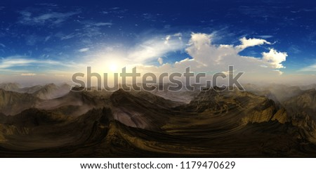 The hills. HDRI . equidistant projection. Spherical panorama. panorama 360. environment map, landscape, 3d rendering