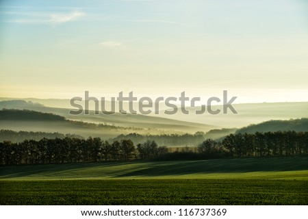 Shutterstock The hills in the fog. Morning landscape