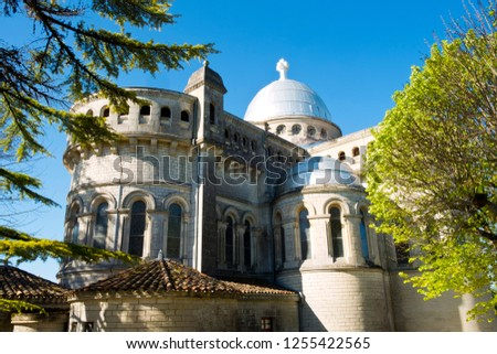 The hilltop church of Notre-Dame de Peyragude in Penne d'Agenais, Lot-et-Garonne, France. This idyllic hilltop village has extensive views over the River Lot and surrounding countryside.