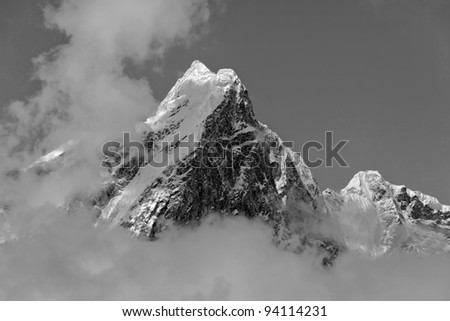 The himalayan mountain in the clouds (black and white) - Nepal, Humalayas