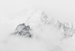 The himalayan peak near Mt. Everest in the fog