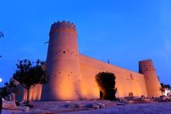 The Historic Al Masmak Castle at night