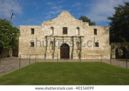 The historic Alamo mission in San Antonio, Texas, site of the 1836 battle for Texas independence against Santa Anna and his Mexican army