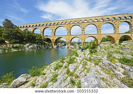 "The historic aqueduct ""Pont du Gard"" in South France"