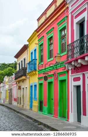 The historic architecture of Olinda in Pernambuco, Brazil with its colonial buildings and cobblestone streets at sunset. #1286606935