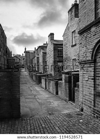 The historic back streets of Saltaire, England