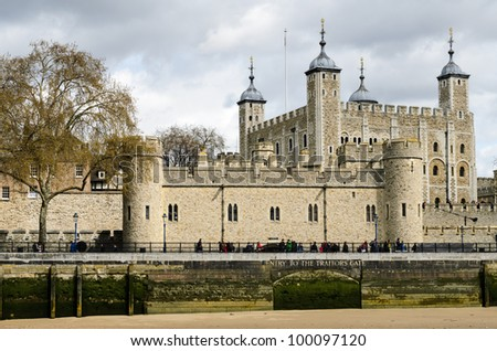 The historic castle Tower of London with a view of the Traitors Gate, UK
