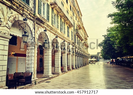 The historic center of Corfu town, LIston, Greece