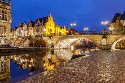 The historic center of Gent, embankment Graslei at night. Former center of the medieval harbor.