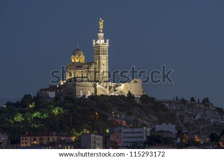 "The historic church ""Notre Dame de la Garde"" of Marseille in South France at night"