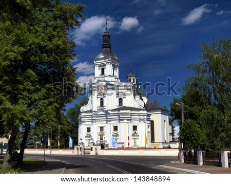 The historic church of St Anne's Basilica and Shrine of Our Lady of Koden along the Bug River in Poland