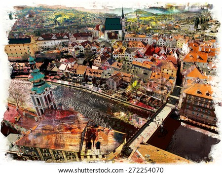 The historic city overlooking the river, painting and mixed media