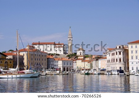 The historic city Piran at the Adriatic sea in Slovenia