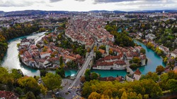 The historic district of Bern in Switzerland - aerial view over the capital city