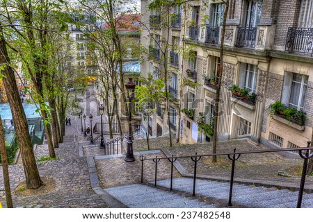 The historic district of Montmartre in Paris France
