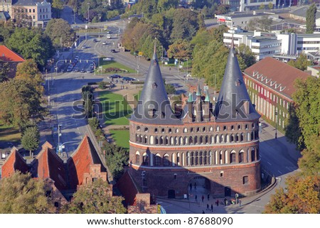 the historic Holstentor of L�¼beck, Germany - stock photo