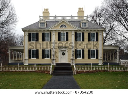 the historic Longfellow House in Cambridge (Massachusetts, USA) at early winter time