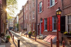 The historic Old City in Philadelphia, Pennsylvania. Elfreth's Alley, referred to as the nation's oldest residential street, dating to 1702.