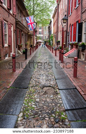 The historic Old City in Philadelphia, Pennsylvania. Elfreth's Alley, referred to as the nation's oldest residential street, dating to 1702. #233897188
