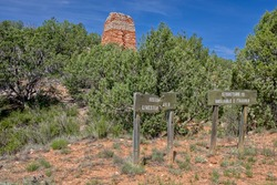 The historic Puntenney Kiln in the Prescott National Forest of Arizona. The Kiln is one of the few relics left of the ghost towns of Puntenney and Cedar. Signs were put up by the National Forest.