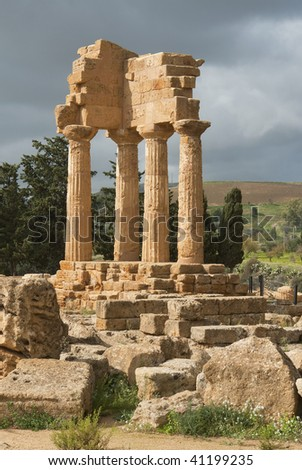 "The historic temple ""Castor and Pollux"" in Sicily - stock photo"