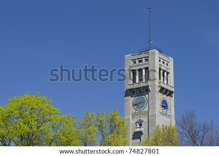 The historic tower of the German Museum in Munich in springtime
