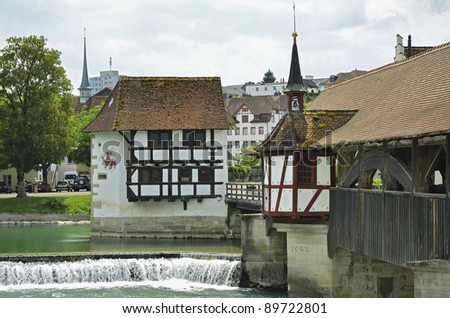 The historic town of Bremgarten, Switzerland at Summer. With the river Reuss.