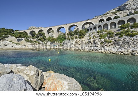 "The historic viaduct of ""La´Estaque"" in ""Marseille"" in South France"