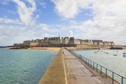The historic walled city of Saint-Malo, view from the pier