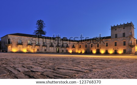 The historical and monumental center of the capital of Albari�±o wine, Cambados, Fefi�±anes Square at dusk.