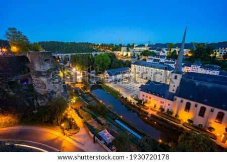 The historical beautiful and superb view of the Grund, Luxembourg Stock photo ©