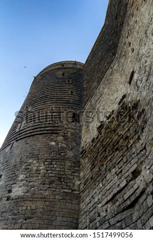 the historical castle in Baku. Baku is a city in Azerbaijan.
