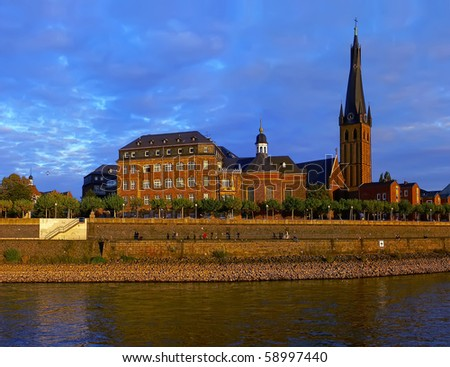 The historical center of Dusseldorf (Germany) on the Rhine