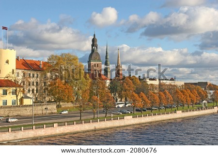 The historical center of the Riga city (Latvia, Europe).  Picture taken from the bridge