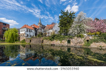 The historical centre of Essen Kettwig at the Ruhr river, Germany Stock foto ©